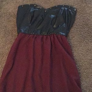 Rue21 high low pleather studded punk goth Dress S